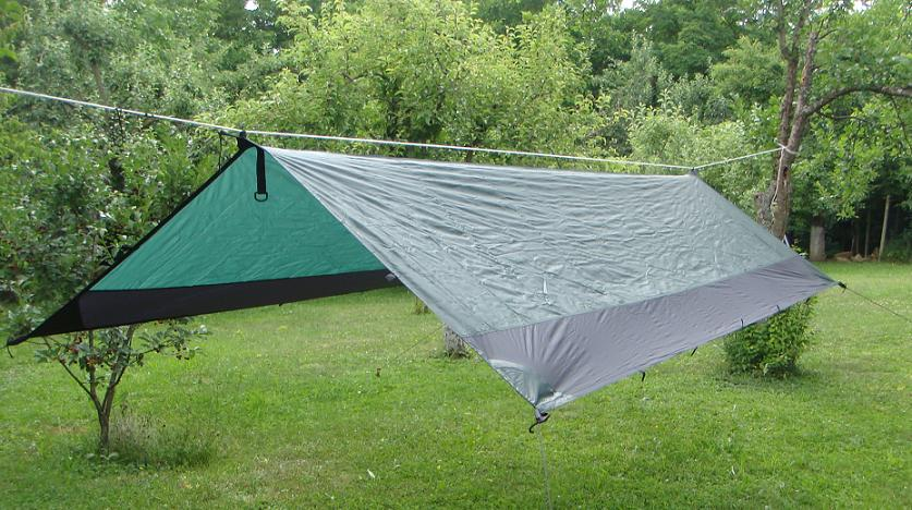 Ultralight Green & Black Tarpaulin 3.8m x 2m